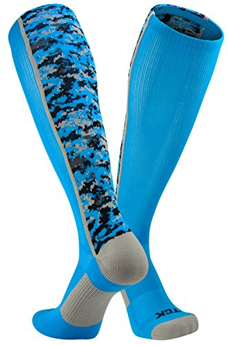 TCK Sports Digital Camo Over The Calf Socks (Electric Blue, Small)