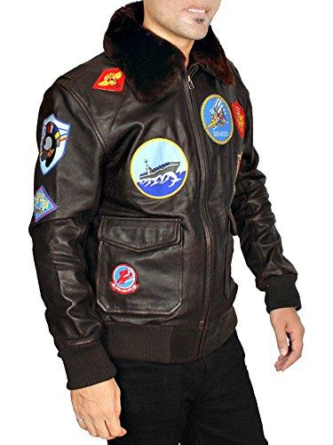 ABz Leathers Tom Cruise Pete Maverick Top Gun Flight Bomber Jacket With Fur Trimmed Collar (L, Black) (Top Gun Damen Jacke Kostüm)