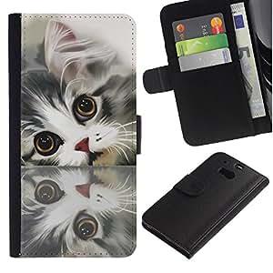 Maine Coon American Longhair Grey Cat - la tarjeta de Crédito Slots PU Funda de cuero Monedero caso cubierta de piel HTC One M8