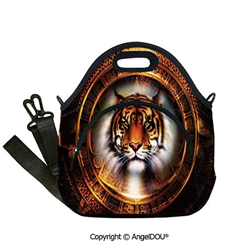AngelDOU Tiger Fashoniable Work Lunch Bags Ancient Mayan Calender Design with Big Hunter Cat Head Wise Feline Old Cultures Decorative lunch bag for Employee student Women Girls.12.6x12.6x6.3(inch) ()