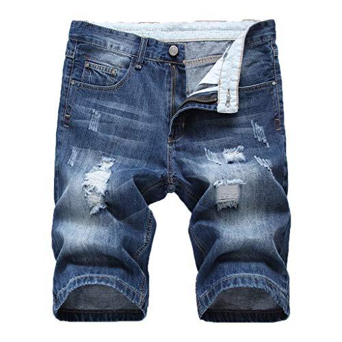 Benficial Men's Casual Jean Shorts, Destroyed Gradient Color Shorts with Holes - Men Short Evisu