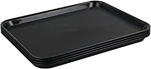 Teyyvn Black 4-Pack Plastic Fast Food Serving Tray,17.25