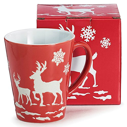 Burton & Burton 9730228 Mug 11Oz Astd Christmas Scenes Embossed White Deer and Snowflakes, Red and White -