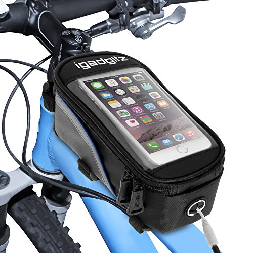 iGadgitz Large Black Reflective Strip Water Resistant Front Top Tube Pannier Bike Frame Storage Bag with Samsung Galaxy S8, S8+, S6 S7 Edge, Note 2 3 4 5, A7, A9, J2, A8, J5, J7, C5 Smartphone Holder