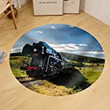 Gzhihine Custom round floor mat Steam Engine Locomotive Train Moving Next to the River