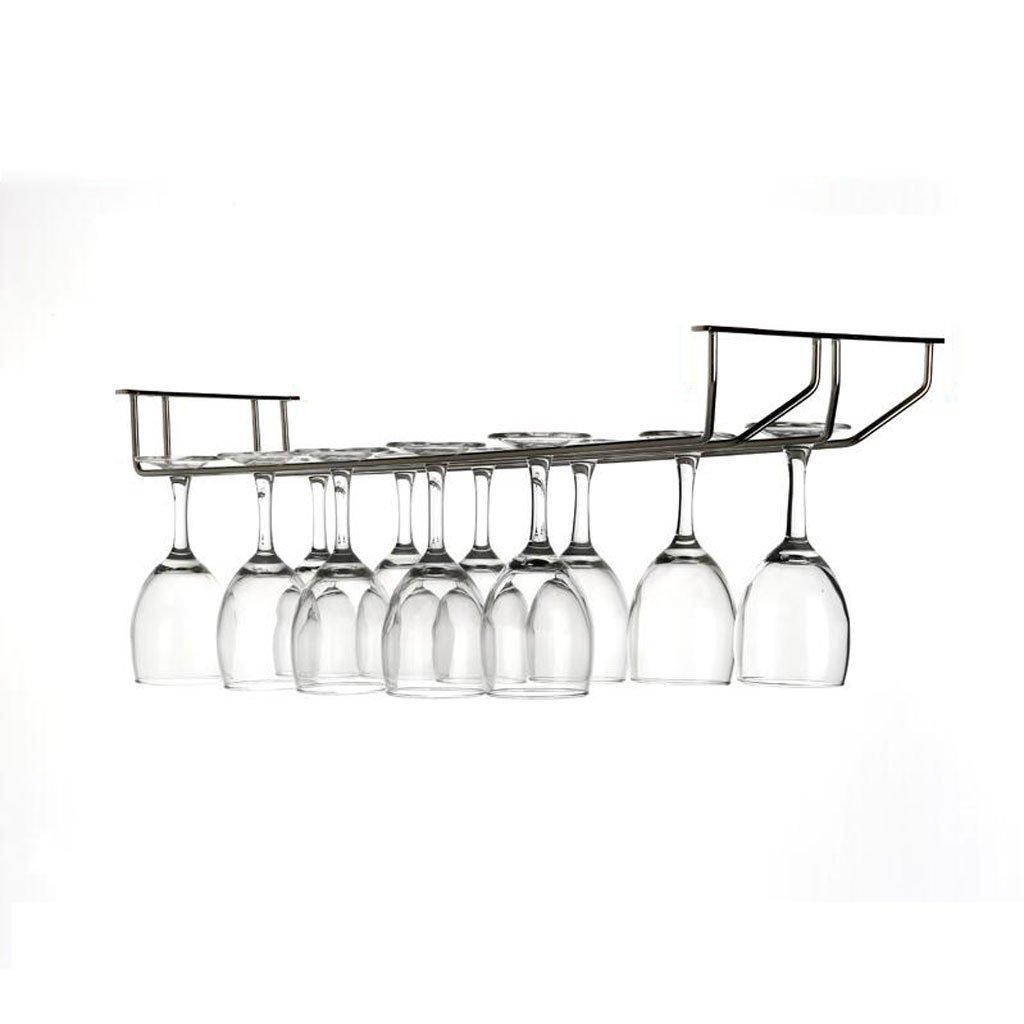 Mobeka 50cm Wine Glass Rack Goblet Rack Stainless Steel Wine Stemware Holder Home Modern Minimalist Hanging Bar Under Cabinet (Size : 2)