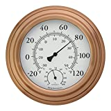8'' Copper Finish Decorative Indoor / Outdoor Thermometer and Hygrometer