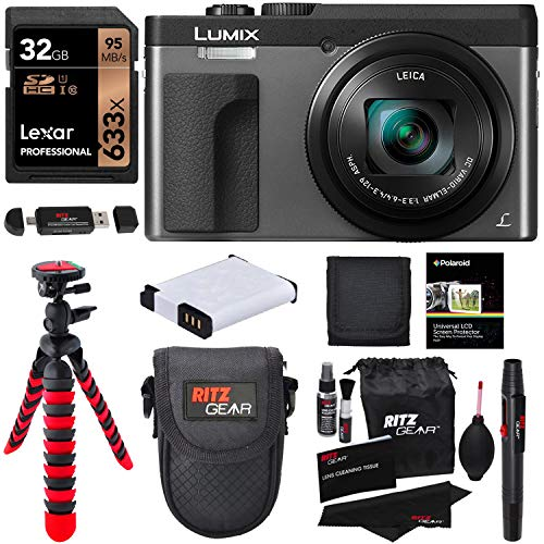 Panasonic DC-ZS70S Lumix 20.3 Megapixel, 4K Digital Camera, Touch Enabled 3″ 180 Degree Flip-Front Display, 30x Leica DC Vario-Elmar Lens, Wi-Fi with 3″ LCD, Silver, Lexar 32GB and Accessory Bundle