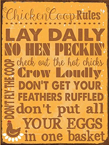 Chicken Coop Rules Metal Sign, Farm Living, Eggs, Hens, Roosters, Country Living, Rustic Decor by (Metal Chicken)