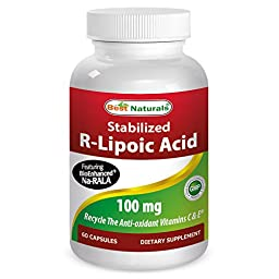 Best Naturals Stabilized R-Lipoic Acid Featuring Bioenhanced Na-RALA 100 mg, 60 Capsules