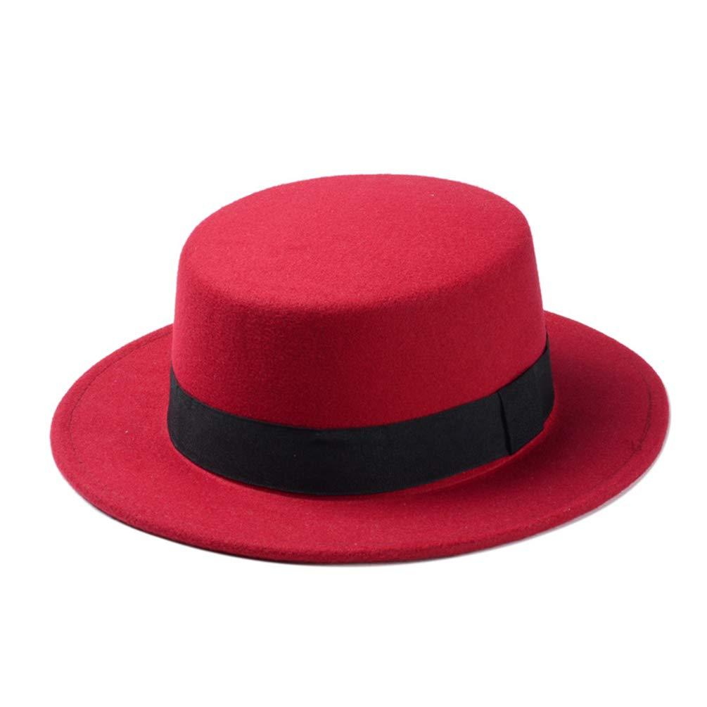 Qianliuk Fedora Hat Wool Boater Flat Top Hat for Women Felt Wide Brim Lady Hat