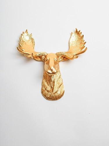 Mini Gold Moose Head The Elcide Gold Moose Head Wall Decor Moose Head Wall Mount Faux Taxidermy Animal Head Wall Hanging Sculpture Animal Mounts Trophy Taxidermy
