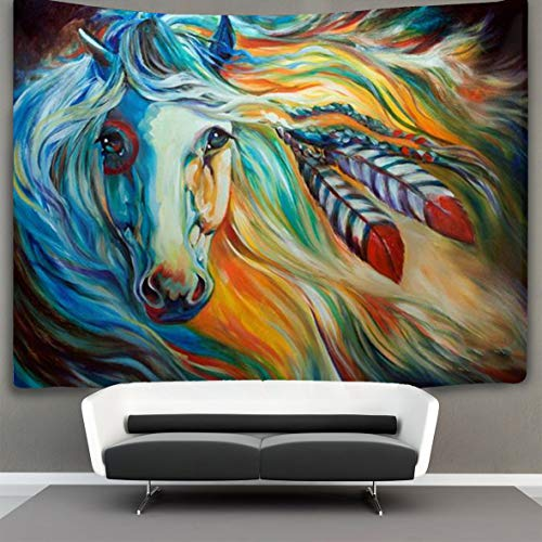 JACINTAN Tapestry Mandala Hippie Bohemian Tapestries Wall Hanging Colored Geometry Horse Head Tapestry Wall Hanging Indian Dorm Decor 40 x 60 inches