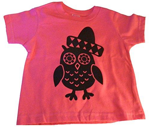 Custom Kingdom Little Girls Owl & Sombrero Cinco De Mayo T-Shirt (5T, Pink) -