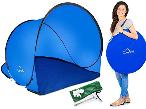 42' Tent (Campela Baby Beach Tent Beach Shade Pop Up Shelter Lightweight Portable Automatic Easy Outdoor Baby Beach Tent Sun Shelter Keep Away From Rain and Breeze at the Beach, Park or Garden! (Blue))