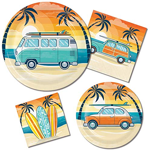 Surfing Theme Party Supplies: Bundle Includes Paper Plates and Napkins for 8 People in a Retro Summer Surfing Design -