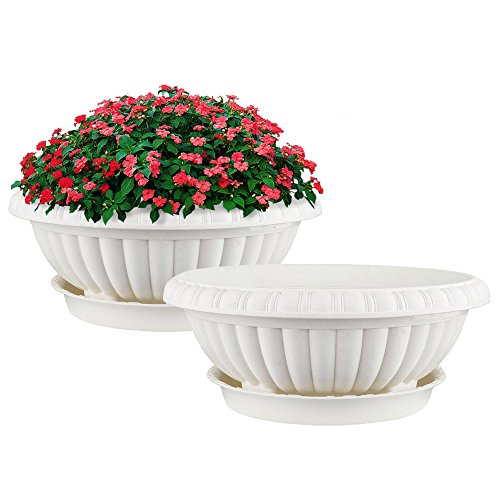 Garden Planters Containers Urns - Mkono 2 Pack Plastic Planter Bowl 12 Inches Plant Pots with Saucers, Beige