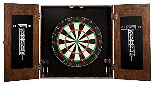 Dartboard Cabinet - Barrington Bristle Dartboard Cabinet Set: Professional Hanging Classic Sisal Dartboard with Self Healing Bristles and Accessories - 6 Steel-Tip Darts