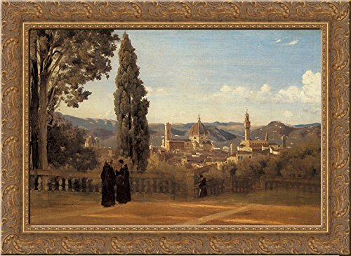 (Florence, The Boboli Gardens 24x18 Gold Ornate Wood Framed Canvas Art by Camille Corot)