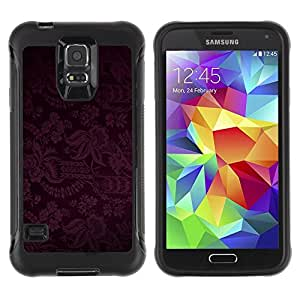 LASTONE PHONE CASE / Suave Silicona Caso Carcasa de Caucho Funda para Samsung Galaxy S5 SM-G900 / Maroon Wallpaper Pattern