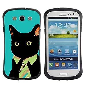 Be-Star Impreso Colorido Diseño Antichoque Caso Del iFace Primera Clase Tpu Carcasa Funda Case Cubierta Par SAMSUNG Galaxy S3 III / i9300 / i747 ( Business Tie Cat )