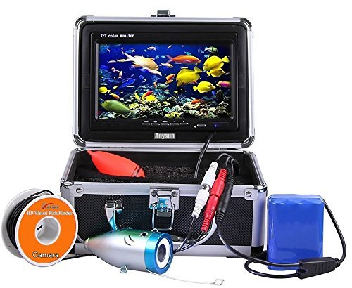 Underwater Fish Finder Anysun® Professional Fishing Video Camera with 7'' TFT Color LCD Hd Monitor 700tvl CCD 15M Cable Length with Carry Case, Fun to See Fish Biting