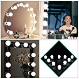 Velidy Hollywood Style LED Vanity Mirror Lights,Makeup Light with 10 Dimmable Bulbs and Touch Dimmer for Bathroom Vanity Lighting/Dressing Cosmetic Mirror Table