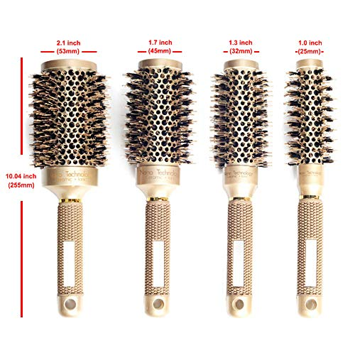 (Round Hair Brush, Nano Thermal Ceramic Ionic Blowout Barrel Anti-Static Roller Hairbrush with Natural Boar Bristle for Blow Drying, Curling Straightening, Volume & Shine (1.3 inch (32mm), Gold Brown))