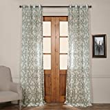 HPD HALF PRICE DRAPES SHCH-PS16073-96-GR Grommet Printed Sheer Curtain, 50 x 96, Seaglass Blue