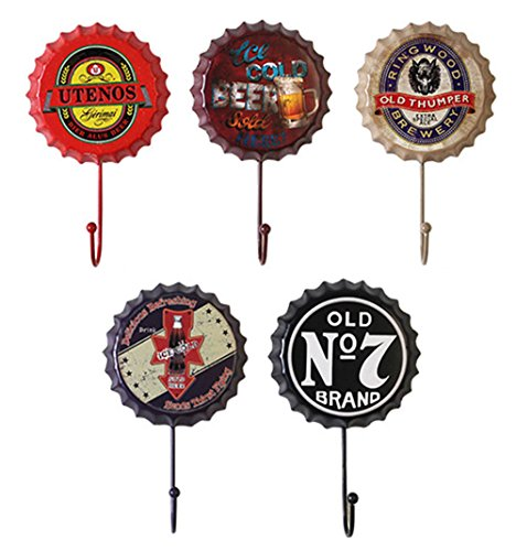 Esther Beauty 22 lbs Heavy Duty Wall Hook/Creative Beer Bottle Cap Shape/Decorative Utility Hook, Pack of 5(A)(Random Delivery)