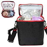 Biubee Insulated Bottle Tote Bag Breast Milk Baby Cooler Bag Storage with Adjustable Shoulder Strap Preserve Important Nutrients for Your Baby (Black)