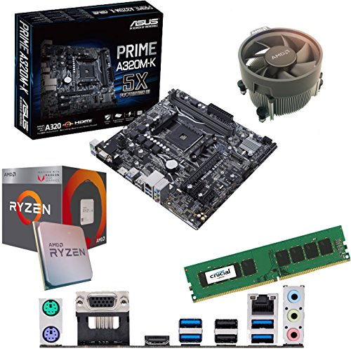 Components4All AMD Ryzen 3 2200G 3.5Ghz (Turbo 3.7Ghz) Quad Core CPU, ASUS Prime A320M-K Motherboard & 4GB 2133Mhz Crucial DDR4 RAM Pre-Built Bundle
