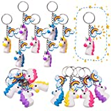 Pawliss 16pcs 3D Rubber Unicorn Keychain with 16 Bonus Rainbow Pendant, Novelty Key Ring, Birthday Party Favors Kids Adults, Carnival Prizes Classroom Gifts Toys