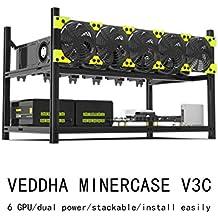 Aluminum GPU Mining Case Rig Open Air Frame For ETH/ETC/ ZCash (6 GPU)