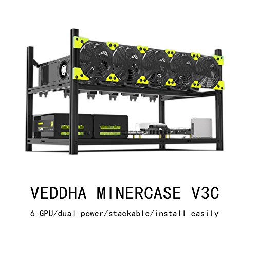 xlpace 6 GPU Dual Power Mining Case Aluminum Stackable Open Air Miner Frame Rig for VEDDHA V3D - Aluminum Stackable