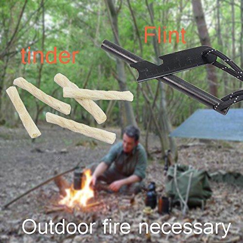 pskook - Kit de supervivencia iniciador de fuego Paracord paracaídas con varilla de 4.7