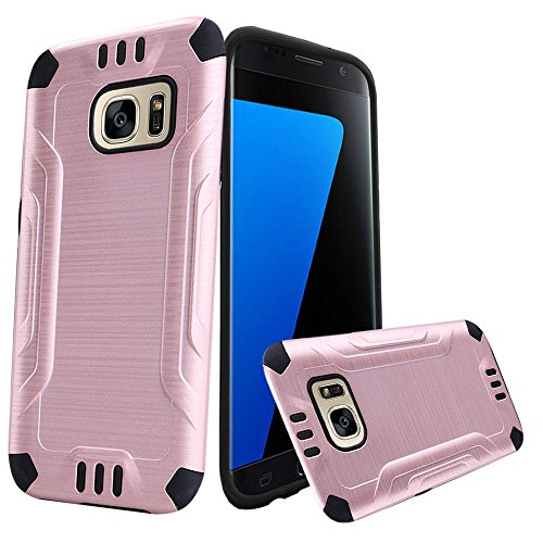 For Samsung Galaxy S7 SM-G930 Metallic Slim Armor Case [SlickGearsTM] Premium Brushed Metal Finish Shock Impact Protection Dual Layer TPU Hybrid Case (Rose Pink)