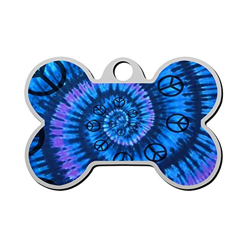 Print Stainless Steel Anti-allergic Spiral Peace Sign Tie Dye Pet ID Dog Tag, Customizable Information Pet Badge for Dogs Cats