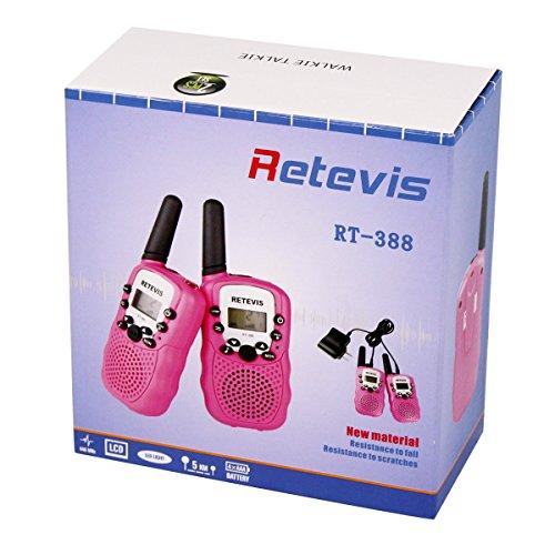 Retevis RT-388 Kids Walkie Talkies Rechargeable FRS 22 Channel Walkie Talkies for Kids (Pink,1 Pair)