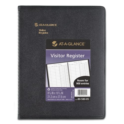 AT-A-GLANCE Undated Visitor Registration Book, 60 Pages, Black, 8.5 x 11 Inches (80-580-05)