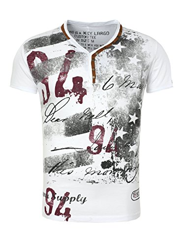 Key Largo Hombres T-shirt LEGENDARY con remaches en el Vintage Busque Stars Endeble 94 Schriftzug Blanco