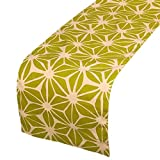 5 ft console table - Juvale Table Runner - Cotton Dresser Scarf, Rectangular Table Runner with Floral Print, Great as Coffee Table Runner, Dining Table Runner, or Kitchen Table Runner, Green and Beige, 70 x 13.25 Inches