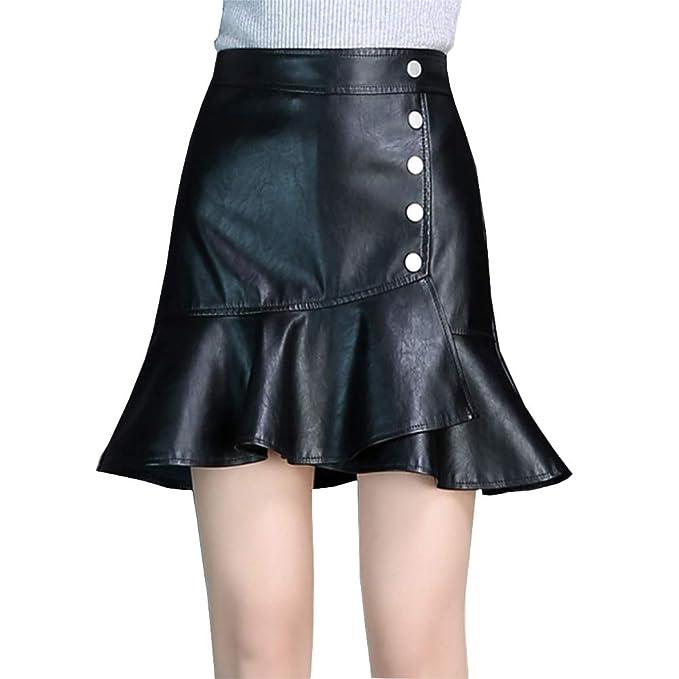 Valin VD253 - Falda de Piel sintética para Mujer Negro 34: Amazon ...