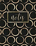 Notes: Gold Circles on Black Notebook Diary & Journal