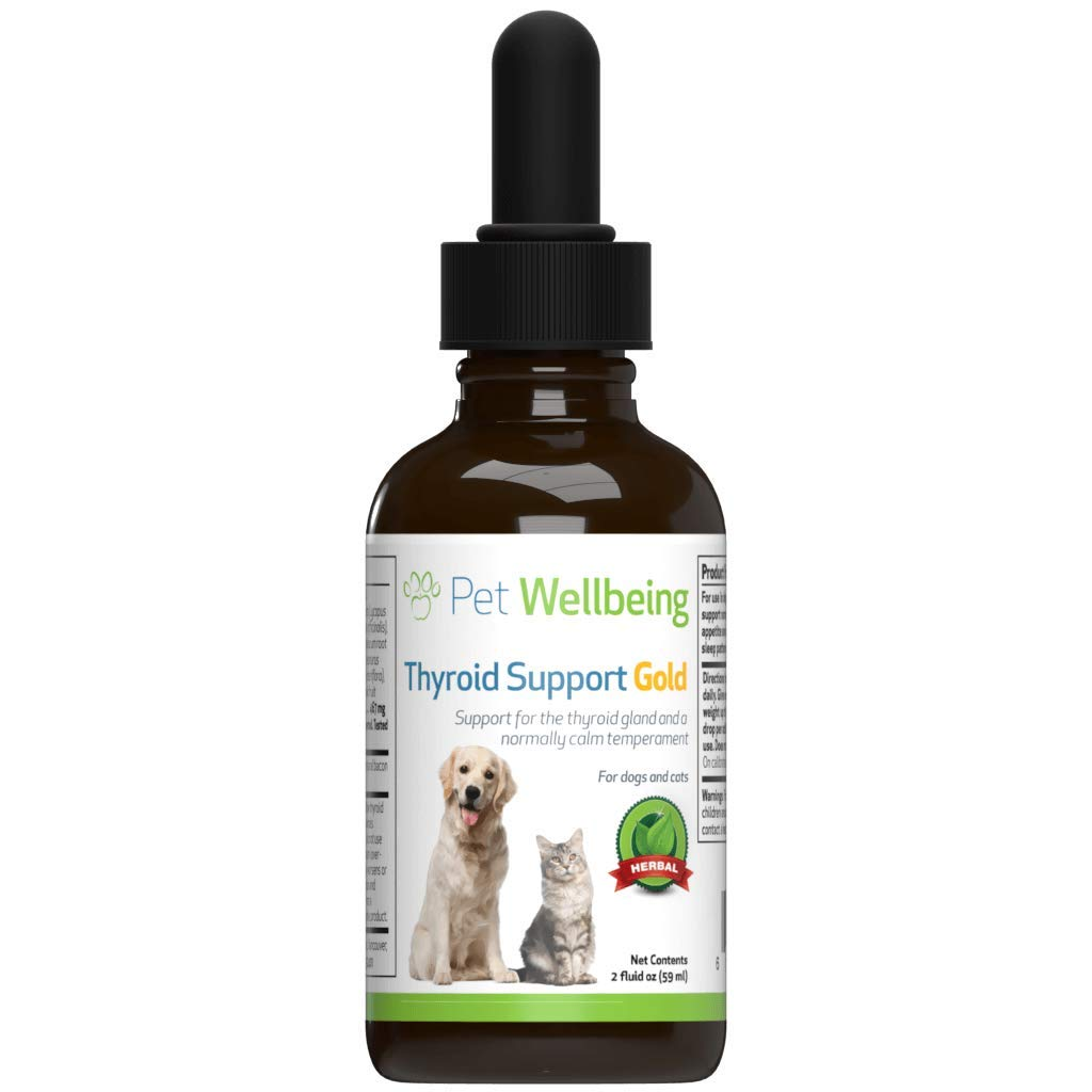 Pet Wellbeing - Thyroid Support Gold for Dogs - Natural Support for Thyroid Gland and Normal Calm Temperament in Canines - 2oz (59ml) by Pet Wellbeing