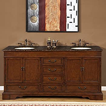 Silkroad Exclusive Baltic Brown Granite Stone Top Double Sink Bathroom  Vanity Cabinet 72 Inch Amazon com Travertine
