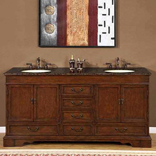Silkroad Exclusive Baltic Brown Granite Stone Top Double Sink Bathroom Vanity Cabinet, 72-Inch - Double Bathroom Sink
