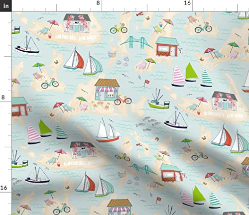 - Summer Travels Fabric - On The Islands Beach Nautical Sailing Tropical Isle Watercolor Rainbow Nantucket Print on Fabric by the Yard - Minky for Sewing Baby Blankets Quilt Backing Plush Toys