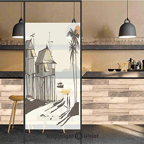 (3D Decorative Privacy Window Films,Sketchy Fishing Village Malay in Singapore with Houses Canoe Palms Sun,No-Glue Self Static Cling Glass Film for Home Bedroom Bathroom Kitchen Office 24x71 Inch)