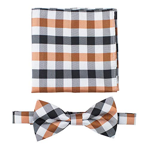 Gingham Plaid Bow Ties for Men - Pre Tied Bow Tie with Matching Pocket Square - Orange and -